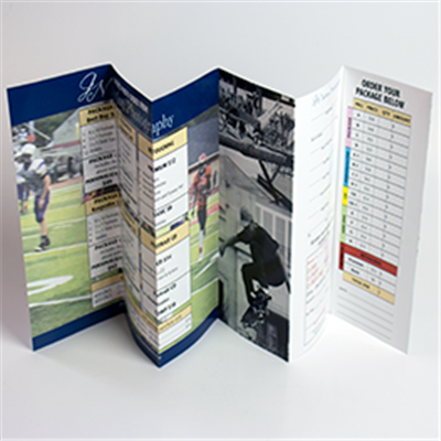 Sports photography 6-Panel Order Form with an Attached/Removable Return Envelope