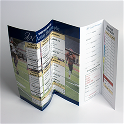 Sports photography 5-Panel Order Form with an Attached/Removable Return Envelope